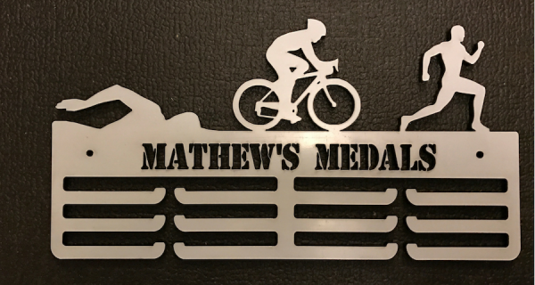 Triathlon Personalised 3 Tier Medal Hanger.