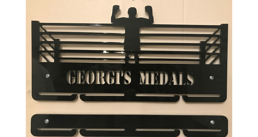 Boxing 1 tier with extra rails medal hanger