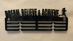 Female Runner Dream, Believe & Achieve 3 tier medal hanger