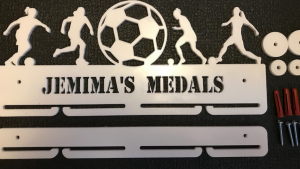 Female Footballer 1 tier with extra rails medal hanger