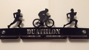 Duathlon Run Cycle Bike single tier medal hanger