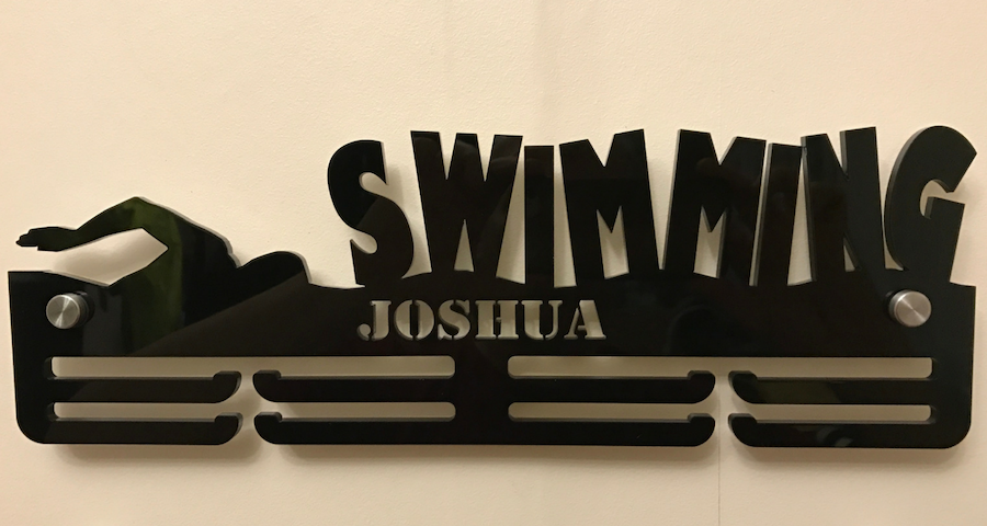 Swimming two tier medal hanger