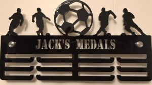 Football Personalised 3 Tier Medal Hanger.