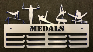 Male Gymnast Personalised 3 Tier Medal Hanger.