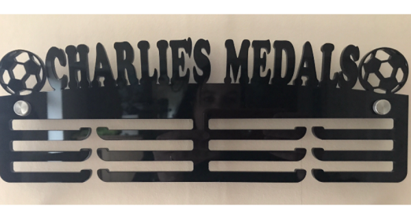 Custom Name Football 3 tier 325mm Medal Hanger