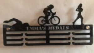 Female Triathlon Personalised 3 tier medal hanger