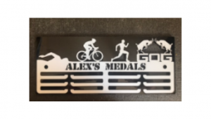 Male GOG Triathlon personalised 3 tier medal hanger