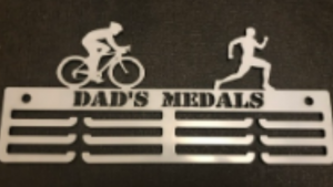 Male Duathlon Personalised 3 tier medal hanger